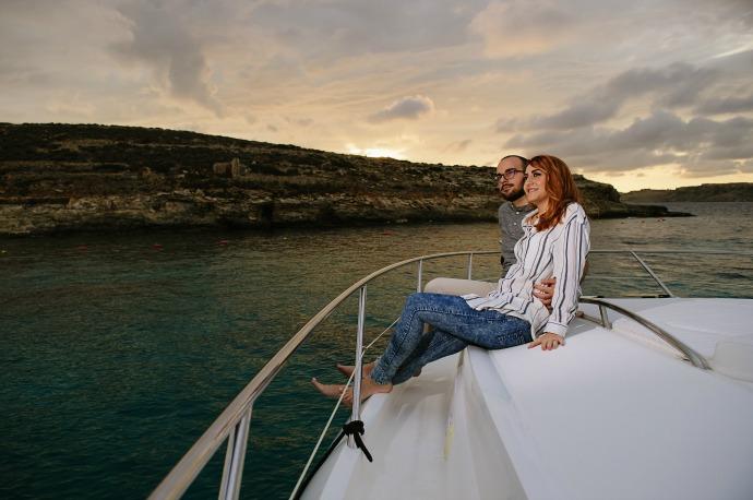 couple on a luxury yacht honeymoon holiday