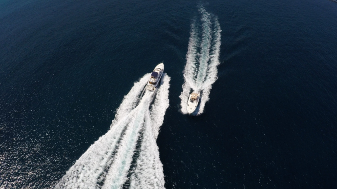 Aerial shot of luxury yachts in the Mediterranean sea
