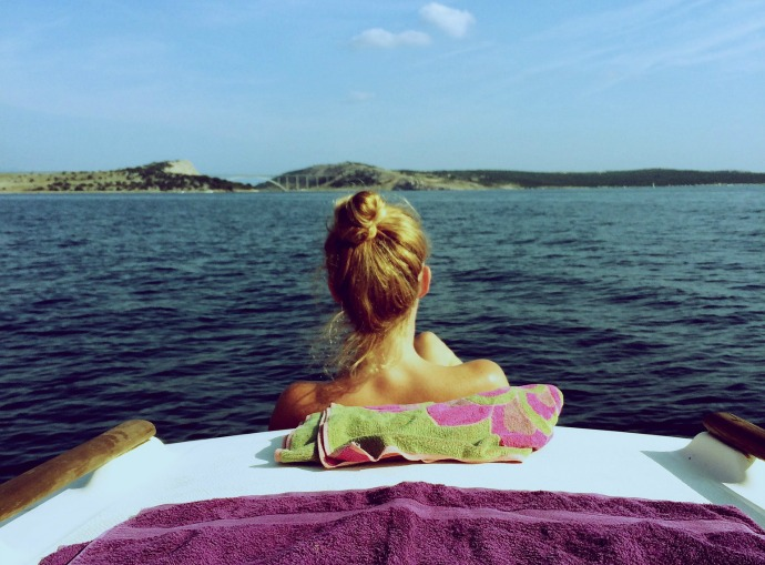 woman on board a motor yacht in the Mediterranean