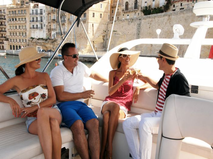 Luxury Sunseeker motor yacht charter around the Valletta Grand Harbour in Malta