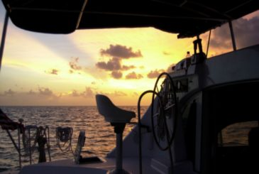 Sunset view on board a luxury yacht