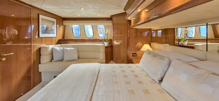 Sunseeker stateroom with stylish and luxurious furnishings and fittings