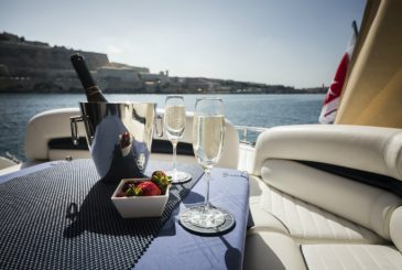 sparkling wine served on board a luxury yacht in Malta