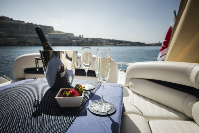 sparkling wine served on board a luxury yacht in Malta