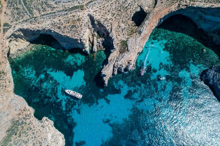 luxury yacht in Comino Blue Lagoon