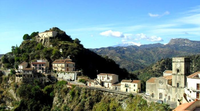 Aerial shot of the Sicilian village of Savoca