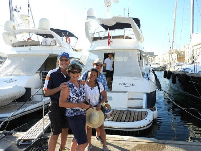 guests aboard to board their charter yacht at Birgu Marina Malta
