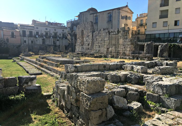the ruins of the ancient temple of Apollo in Syracuse, Sicily