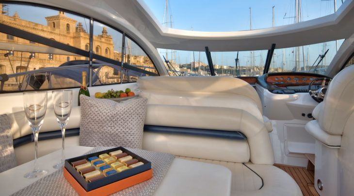 Deck area of Sunseeker Camague 50 in Birgu Marina Malta.