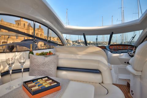 Deck area of Sunseeker Camague 50 in Birgu Marina Malta.
