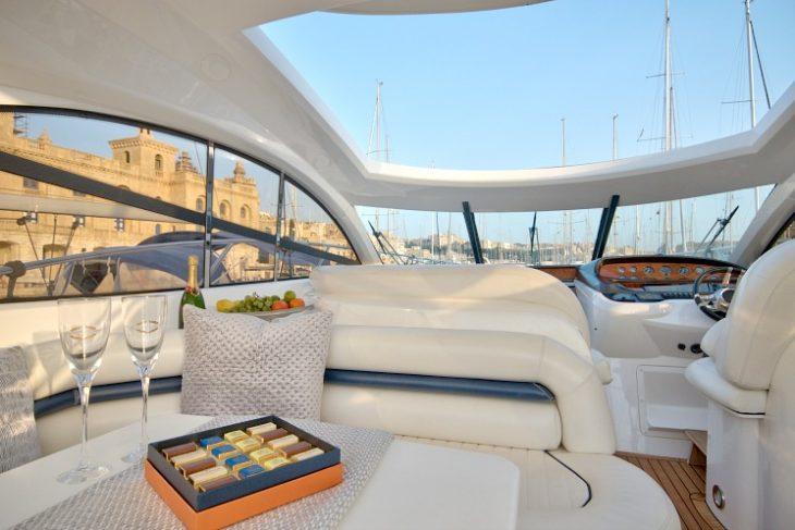 Motor yacht berthed in Birgu marina in Malta