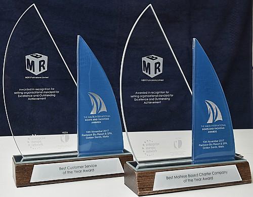 yacht awards on display