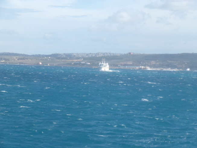 Choppy seas on the Gozo Channel with the Gozo Ferry in background