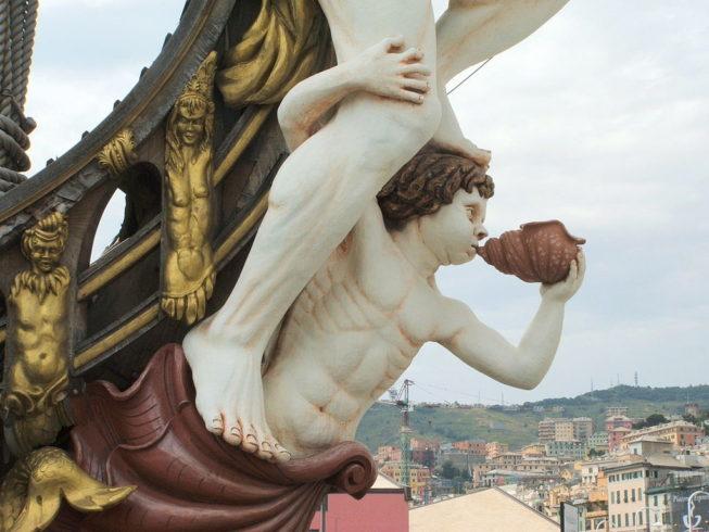 Striking figurehead on 17th Century Spanish Galleon replica, Genoa. Italy. Sailing Terms