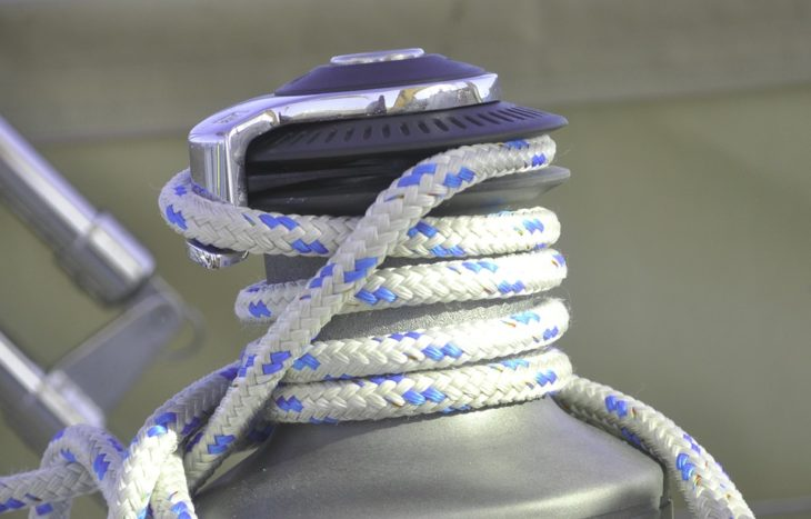 Line attached to a winch on a yacht